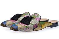 SHOOEGLE Men Slip on Casual Outside Slides Half Shoes Embroidered Loafers Men Smoking Slippers Summer Trending Shoes Man