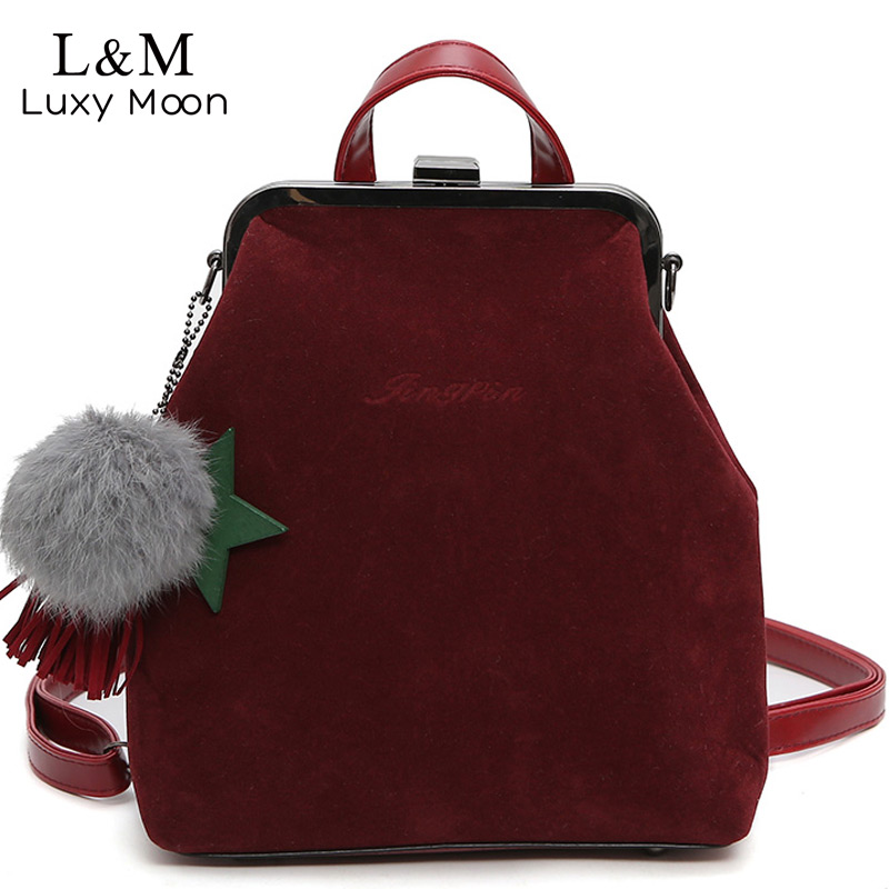 Luxy moon Women Backpack School Bags Suede Red Backpacks PU Leather For Teenage Girls Velvet Hasp Lady Travel Bags 2018 XA931H