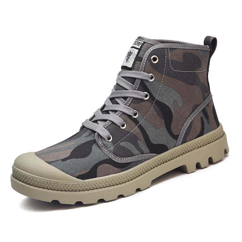 2018 Military Camouflage Boots Men Ankle Canvas Shoes Autumn Spring Combat Boots High Top Work Shoes Men Antiskid Shoes in Basic Boots from Shoes