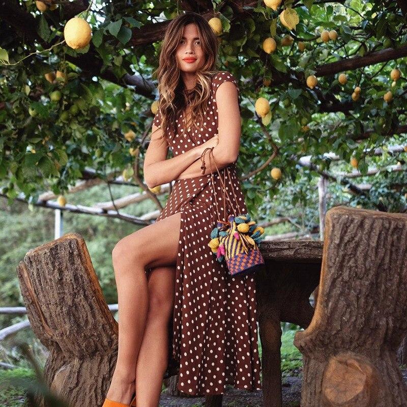 2018 Polka Dot Vestido de Verão Vestido Mulheres Praia Vestidos Bohemian V Neck Dividir Assimétricas Longo Elegante da Festa Vestidos Vestidos Do Envoltório