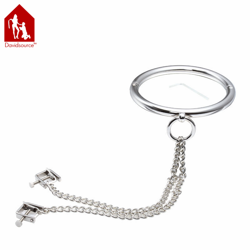 Davidsource Metal Neck Collar + Heavy Metal Nipple Clamps With Chain Lockable Restraint Bondage Clips Slave Adult Sex Toy kitavt75417unv10200 value kit advantus id badge holder chain avt75417 and universal small binder clips unv10200