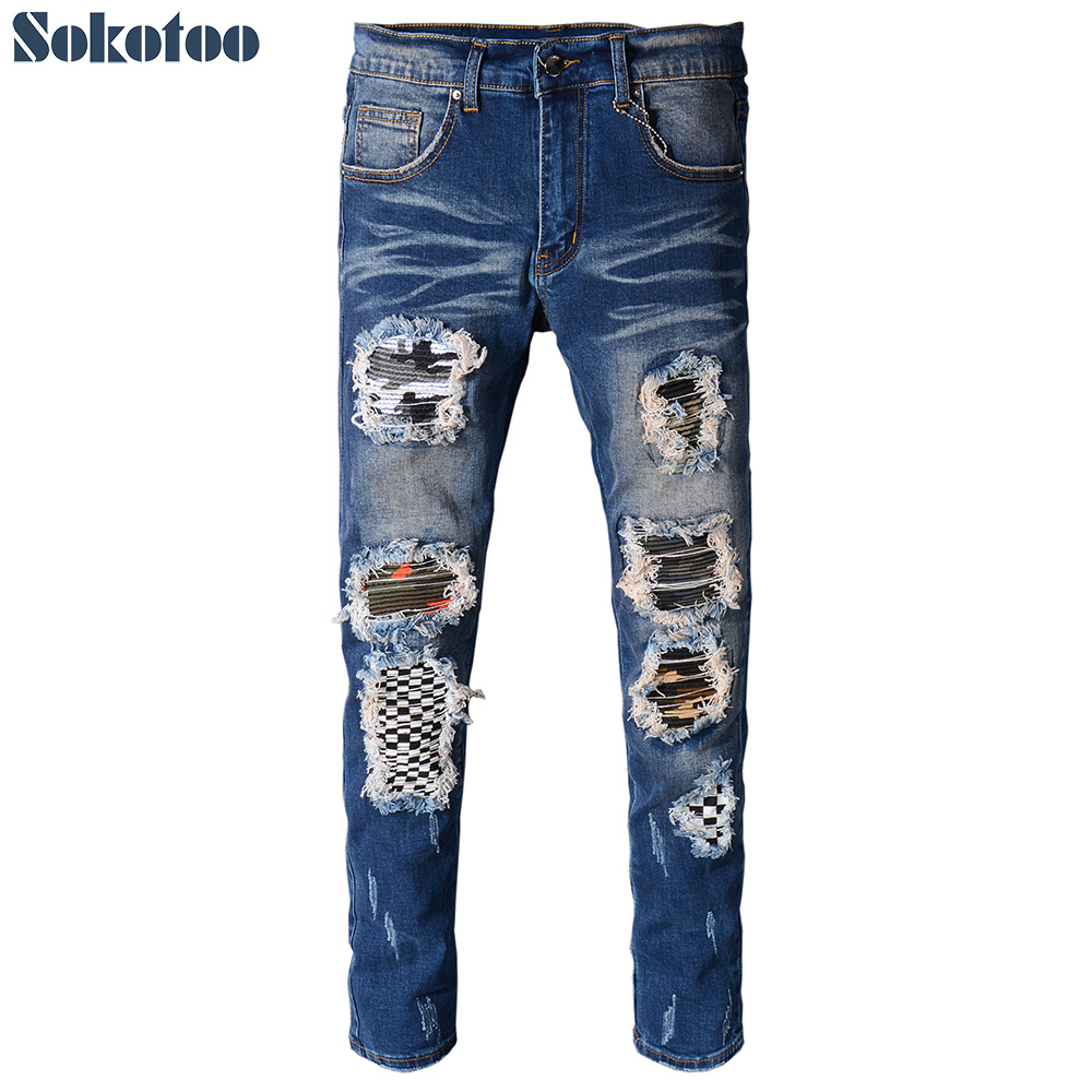 Sokotoo Men's pleated patchwork blue ripped biker jeans for moto Casual holes distressed slim fit skinny stretch denim pants цена