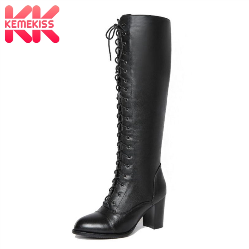 KemeKiss Women Genuine Leather High Heels Boots Lace Up Winter Shoes Women Warm Fur Knee High