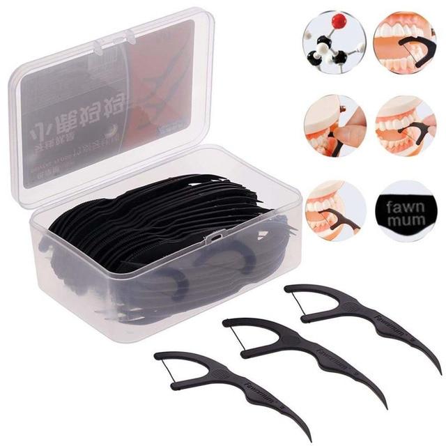 50 unids/caja carbón de bambú negro Dental hilo Dental palillo de dientes cepillos interdentales dientes limpiador de dientes herramienta de limpiador de dientes
