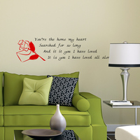 Free Shipping DIY Wall stickers Home Decor Living Room PVC Vinyl Paster Removable Art Mural,Rose Love Letter,M-06