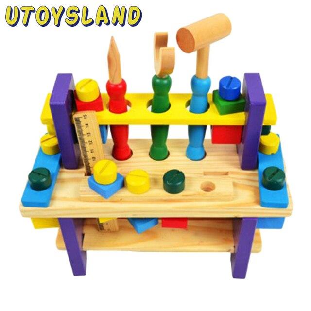 UTOYSLAND Instalar e Porca De Madeira Bancada de Trabalho e Jogar Ferramenta Multifuncional Define Brinquedo para Crianças