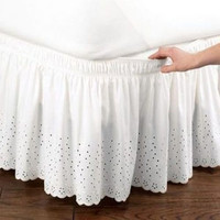 Free shipping twin full queen king size white/beige embroidered without bed surface elastic band bed skirt 37cm height bed apron