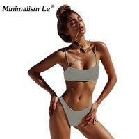 Minimalism Le 2018 Sexy Triangle Spandex Swimwear Solid Bikini Sets Drape Swimsuit Summer Bikinis Bathing Suits