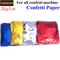 2 кг/лот Прямоугольная форма золото серебро Corlorful конфетти бумага для машина для конфетти cannon конфетти машина сценический эффект