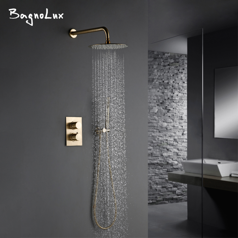 Solid Brass Brushed Gold Bath Bathroom Shower Head Rianfall Luxury Combo Faucet Wall-Mount Arm Thermostatic Mixer Diverter Set
