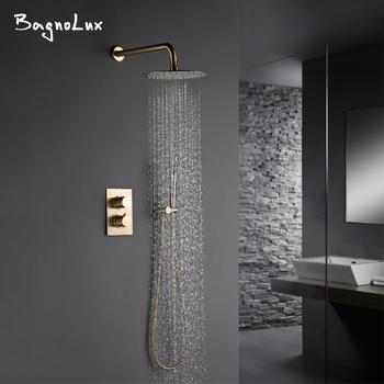 Solid Brass Brushed Gold Bath Bathroom Shower Head Rianfall Luxury Combo Faucet Wall-Mount Arm thermostatic Mixer Diverter Set цена 2017