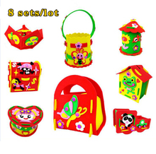 8PCS DIY Applique Storage Box Kids Children Handmade Non-woven Cloth Cartoon Animal Flower Bag Art Craft Gift Piggy Bank  8 sets