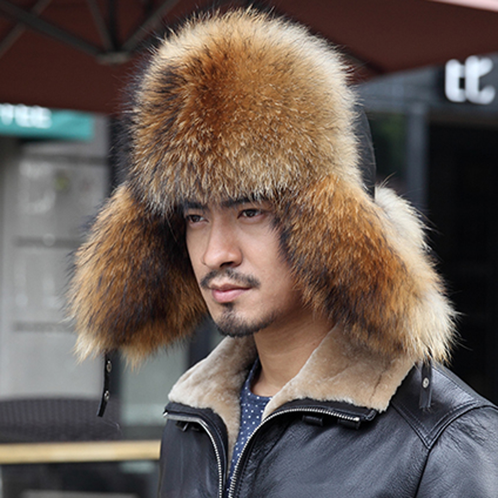 2389d132a0  YCFUR  Bomber Hats Men Raccoon Fur Hat Ear Flaps Fox Fur Male Caps  Sheepskin Men Hats Caps Winter-in Bomber Hats from Apparel Accessories on  Aliexpress.com ...