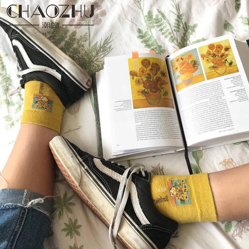 CHAOZHU 2018 Весна Хлопок искусство картина маслом Ван Гог Мона Лиза носки Креативная идея 200 иглы чесаный хлопок носок мода лето