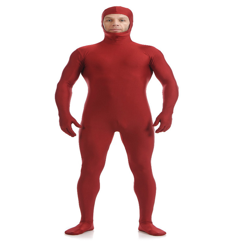 (SOF002) Wine Red Lycra Spandex Full Body Fetish Zentai Skin Tights Unisex Bodysuit Cosplay Costume Unitard Jumpsuit Dancewear