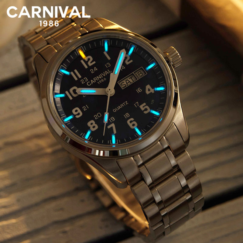 Carnival T25 Tritium Gas Luminous Quartz Watch Men Military Waterproof Mens Watches Sapphire Crystal Clock relogio
