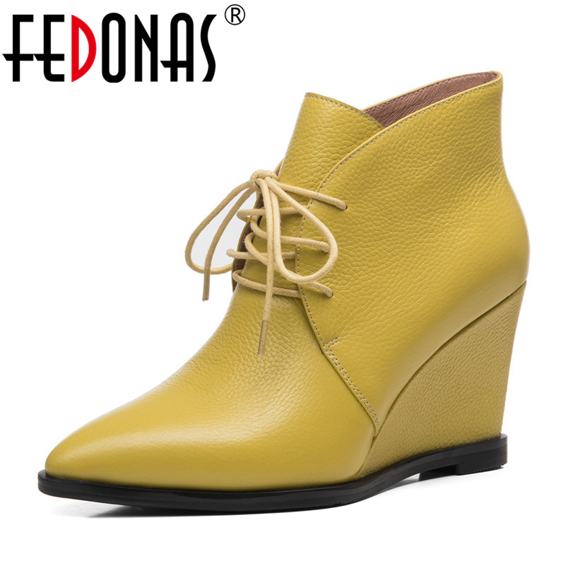 FEDONAS New Ankle Boots Women Wedges High Heels Lace Up Party Wedding Shoes Woman Cow Leather Pointed Toe Elegant Office PumpsFEDONAS New Ankle Boots Women Wedges High Heels Lace Up Party Wedding Shoes Woman Cow Leather Pointed Toe Elegant Office Pumps