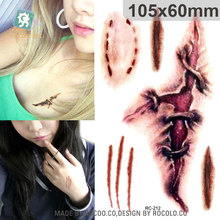 Body Art Waterproof Temporary Tattoos For Men And Women 3d Realistic Blood Scar Design Tattoo Sticker RC2212