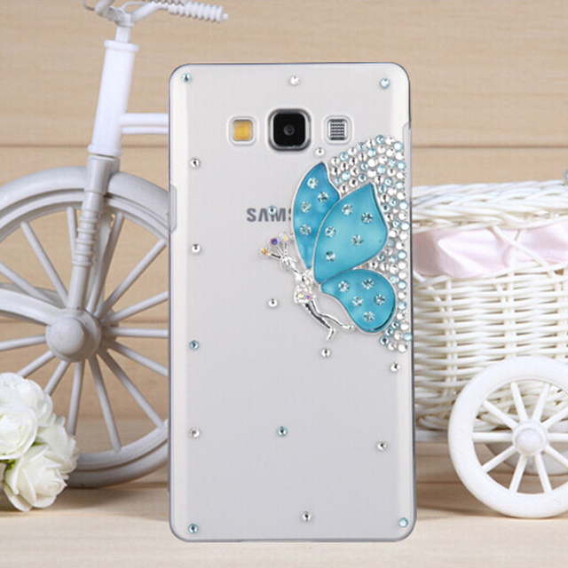 pretty nice e4f06 7fdf8 US $5.99  New 3D Gem Butterfly Bling Crystal Diamond Transparent Cell Phone  Shell Back Cover Hard Case For Samsung Galaxy On7 G6000 Case on ...