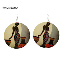 WHOMEWHo 60cm Africa Wood Native African Lady Egyptian Tribal Earrings Vintage Bohemia Party Jewelry Wooden DIY Ear Accessories