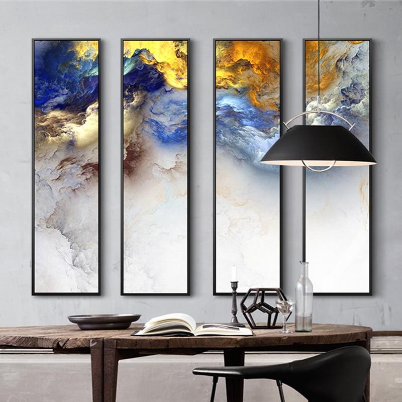 Moderne Chinesische Malerei 4 Stück Leinwand Malerei Abstrakte Landschaft  Malerei Drucke Für Moderne Wohnzimmer Schlafzimmer Decor Wandkunst   WLOG.ME