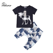 4204ec7d60b0b Infant Baby Boys Summer Clothes Deer Print T shirt+Pants Set Kids Xmas Boutique  Outfits