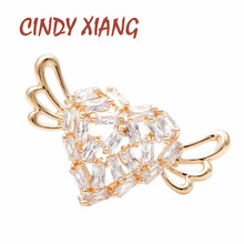 CINDY XIANG 2 color available cubic zirconia heart collar pin women and men unisex suit brooch small tinny copper jewelry