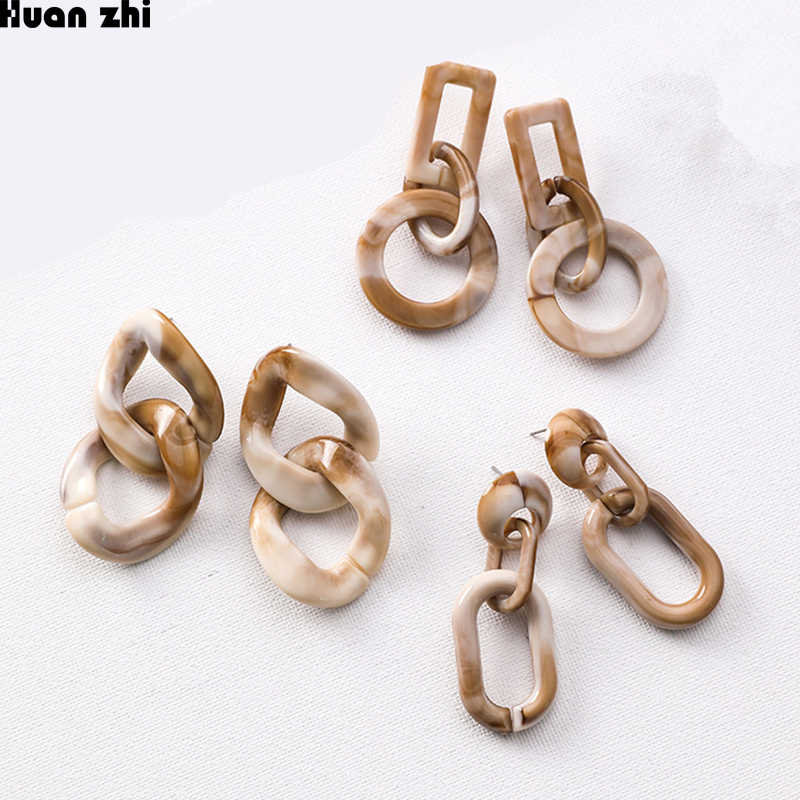 HUANZHI Vintage Marble Pattern Acrylic irregular Geometric Twisted Circle Chaim Long Drop Earrings for Women Acetate Earrings