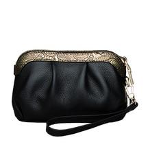 Cow leather handbag 2016winter new purse Elegant Clutch Wallet Mini bag with handle
