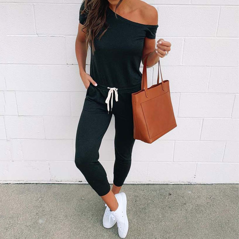2019 Summer Black   Jumpsuit   Women Off Shoulder Female   Jumpsuit   Romper Short Sleeve Elegant   Jumpsuit   Women Rompers Beach Overall