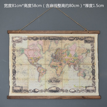 Large Retro World Map Linen Cloth Painting Scrolls Poster Mural Paintings Banners Hanging Art Office Loft Ornament Wall