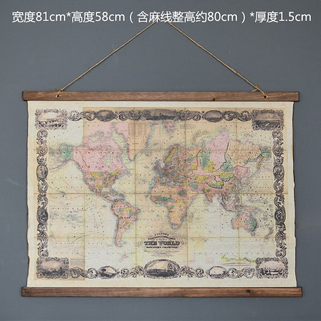 Linen World Map Wall Art Path Decorations Pictures Full Path - Cloth world map wall hanging