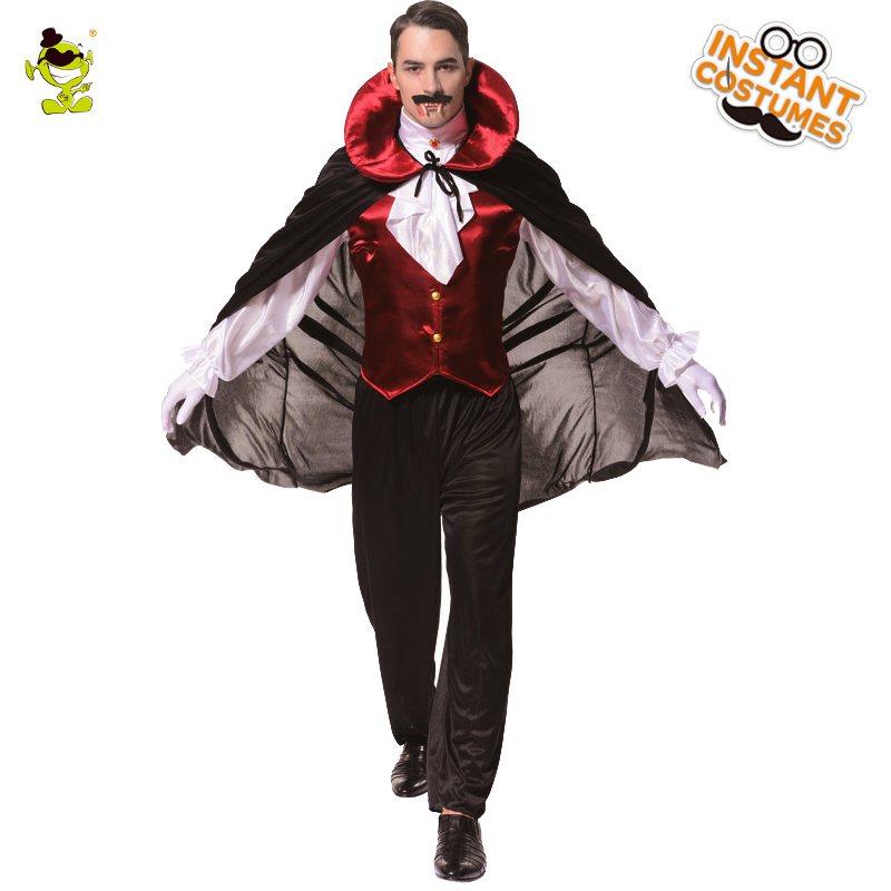 Uomo Gothic Vampire Costume Con Mantello Con Cappuccio Accappatoio Strega Cape Halloween Carnevale Fancy Partito Per Il Gioco di Ruolo Costumi da Vampiro