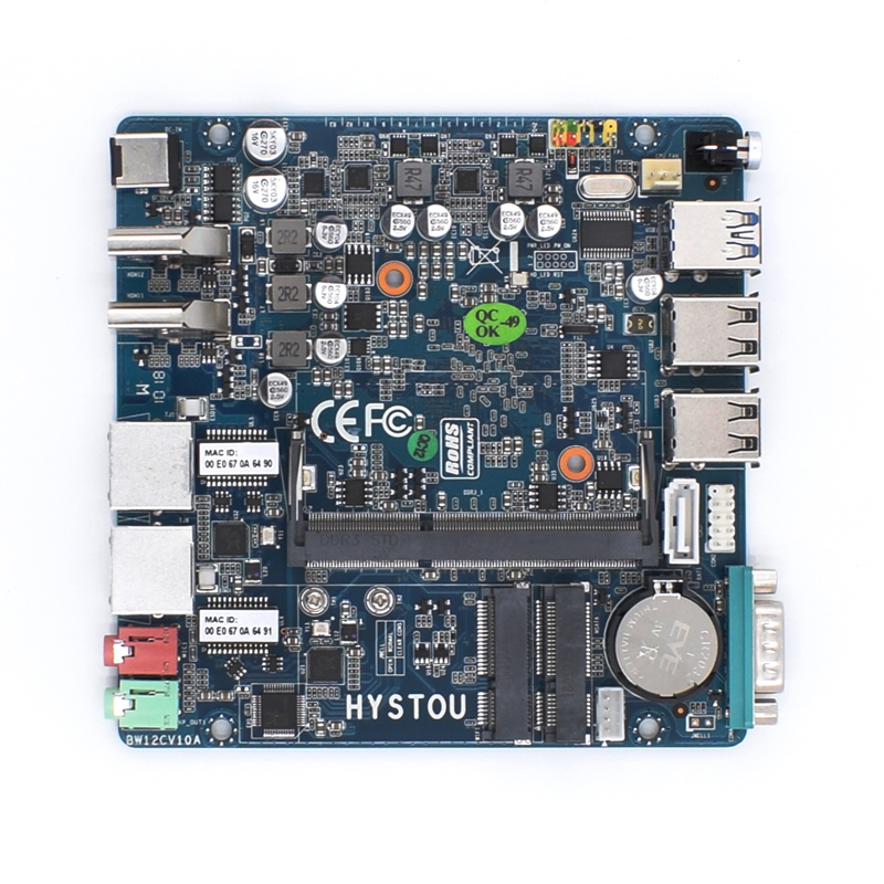 Hystou Mini PC Nano ITX Industrial Motherboard 12*12 CM Intel N3160 Fanless X86 DC12V Systemboard 2 Lan MainBoard Computer Board bote visto desde abajo del agua