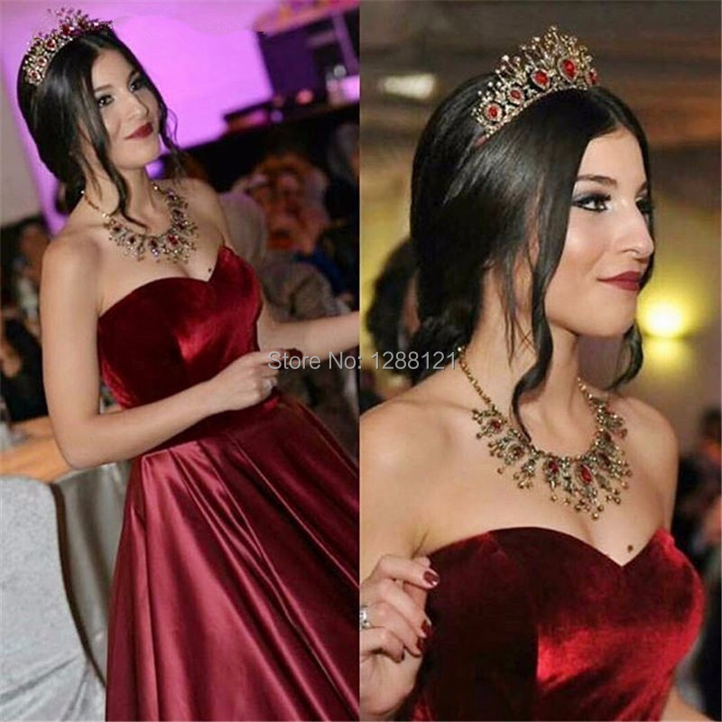 Kleider Lang Elegant Sweetheart Burgundy Velvet Evening Dress 2017 ... cec4a512f82b
