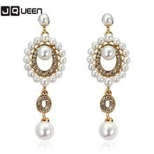 Luxury Synthetic Pearl Beads Long Earrings White Crystal Plant Silver Color Dangle Drop Earrings for Women Wedding Jewelry
