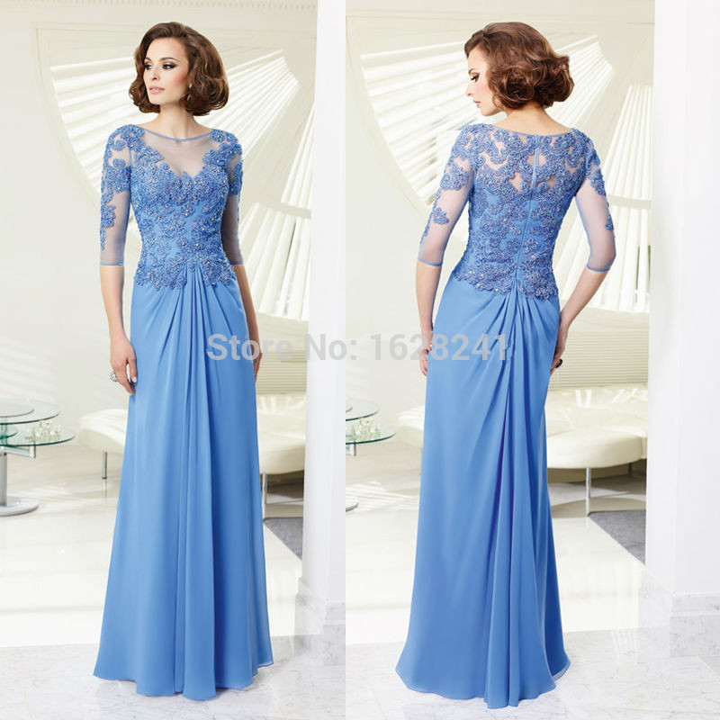 bule chiffon half sleeve mother of the bride dresses long formal gown lace dresses for weddings vestido mae da noiva