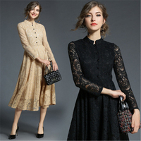 Spring Autumn New Women's Vintage Beautiful and Elegant Long Sleeve Lace Slim Fit Dress Maxi Satin Dresses Big Size xxxxl