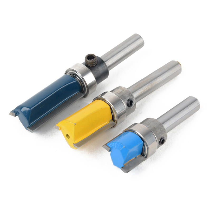 3PCS 1/4 11.9mm Shank Cutter Top &Bottom Bearing Flush Trim Router Bit For Woodworking Milling Router Cutter huhao 1pc bearing flush trim router bit