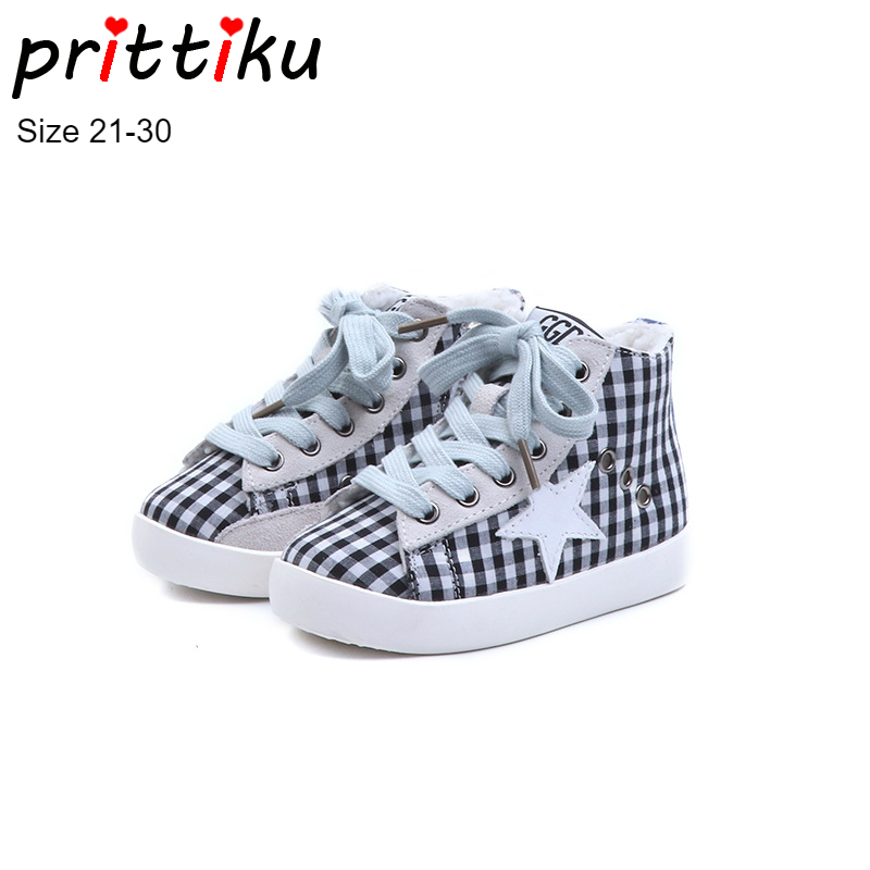 Winter 2018 Girls Boys Plaid High Top Plush Warm Lined Sneakers Baby/Toddler/Little Kid Casual Trainers Children Lace Up Shoes winter 2018 girls boys plaid high top plush warm lined sneakers baby toddler little kid casual trainers children lace up shoes