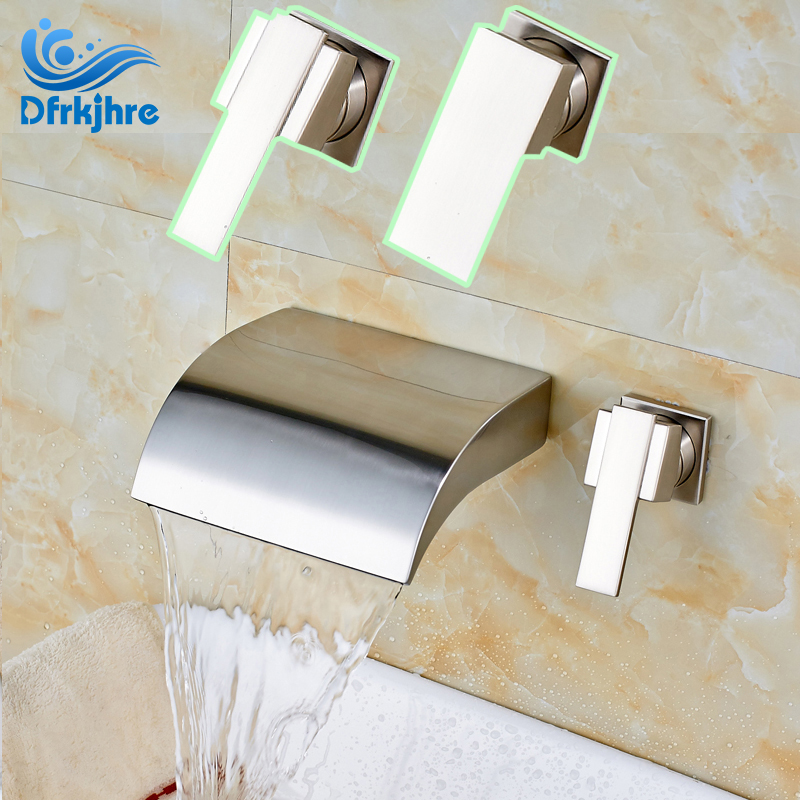 Brushed Nickel Wall Mounted Waterfall Bathroom Hot and cold Water Sink Faucet Dual Hole Mixer Taps wall mounted bathroom mixer taps free shipping hot and cold washing basin water sink faucet two hole one handle