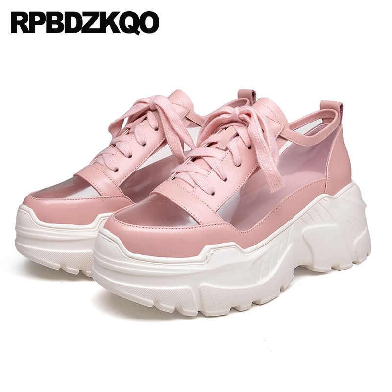 601c3204002e ... Pvc 2018 High Heel Sneakers Women Wedge Flatform Muffin Pink Transparent  Shoes White Platform Boots Harajuku ...