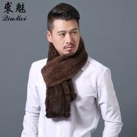 2018 Modern Men Mink Fur Shawl Good Gift Real Fur Scarf Genuine Mink Scarves Hand Knitted Mink Scarf Winter Fur Scarf For Men