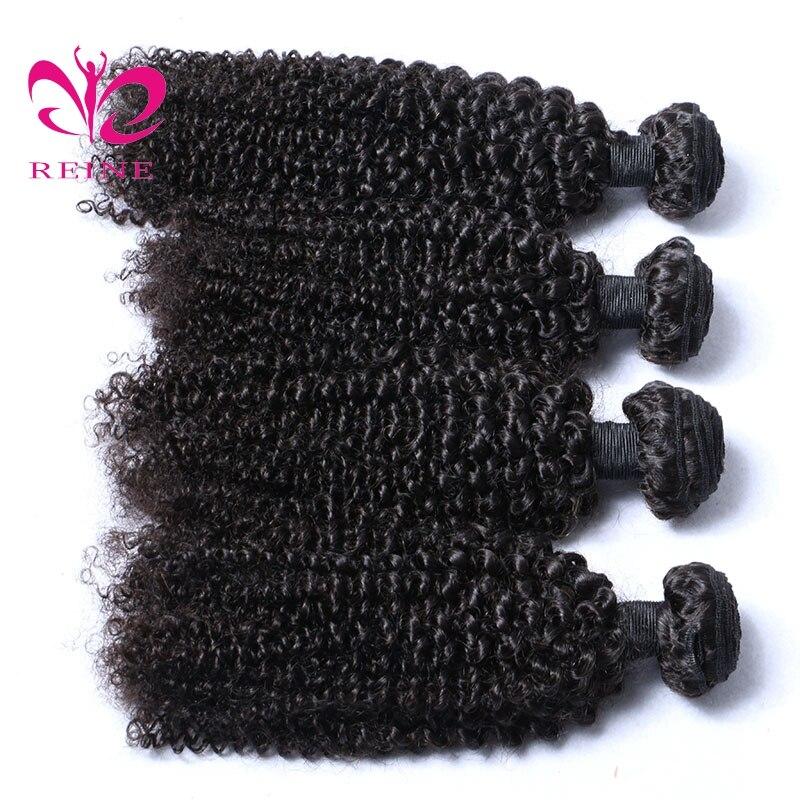 REINE бразильский странный вьющиеся волосы переплетения человеческих волос пучки ткань натуральный черный номера Волосы remy расширение может...