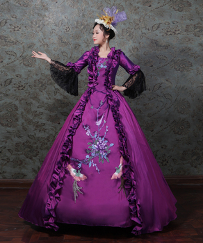 Purple Rococo Dress  Gothic Victorian Party Prom Gown Theater Women Clothing