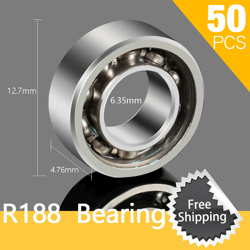 50pcs R188 Open Style Cage Hybrid Bearing Miniature Ball Bearings for Autism and ADHD Hand Spiner Anxiety Stress Gift Toys