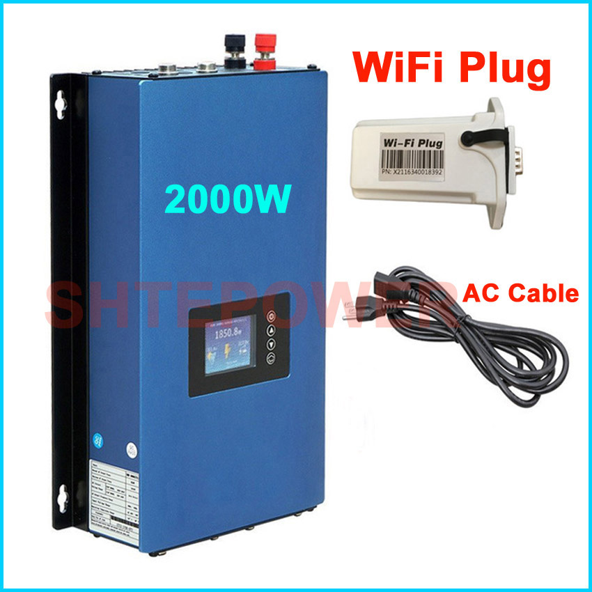 2000W MPPT Solar Grid Tie Inverter DC 45-90v AC 220V 230V 240V with wifi Plug and Battery Discharge Power Mode 2KW maylar 22 60vdc 300w dc to ac solar grid tie power inverter output 90 260vac 50hz 60hz