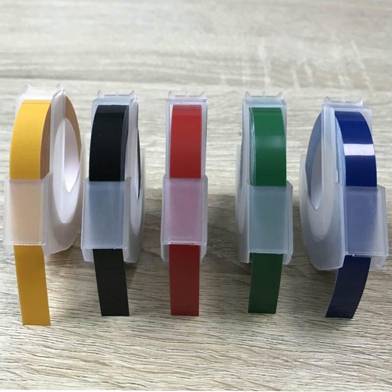 5 Pz/lotto Compatibile DYMO 3D di Plastica Goffratura Etichette di Colore Misto 9mm * 3 m per Goffratura Label Makers