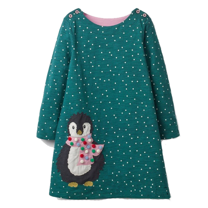 Girls Dress with Animal Applique Long Sleeve Princess Dress Children Costume Robe Fille Kids Party Dresses Baby Girl Clothes kids summer clothes 2017 new long sleeve baby girl dresses solid lace girls princess dress kids party dress girls costume 4 11t