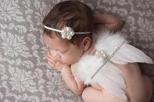 Hot Angel Feather Wings With Baby Girl Pearl Headband Hair Bands Photo Shoot Accessories Newborns Hairband Photography Props Set
